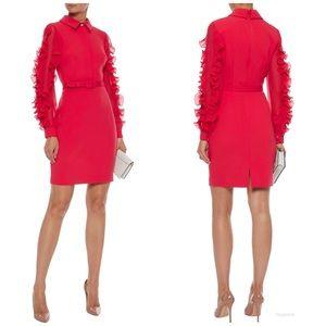 Badgley Mischka  Red Dress Ruffle sleeve sz 4